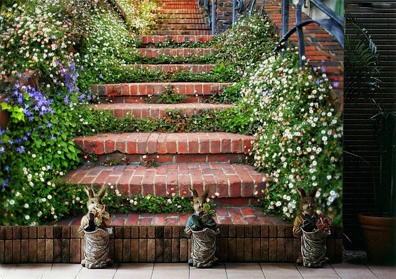 Flower-lined staircase