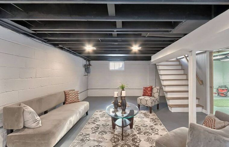 unfinished basement design ideas